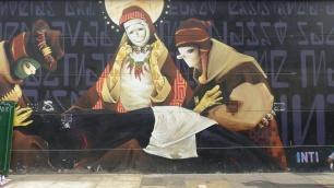 Au détour d'une rue, une fresque de l'artiste chilien Inti